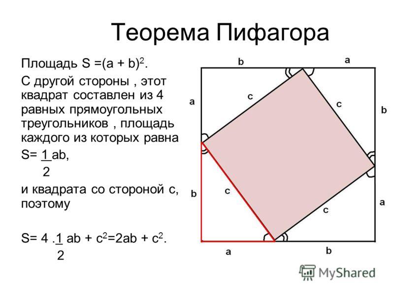Теорема Пифагора Площадь S =(а + b) 2. С другой стороны, этот квадрат составлен из 4 равных прямоугольных треугольников, площадь каждого из которых равна S= 1 аb, 2 и квадрата со стороной с, поэтому S= 4.1 ab + с 2 =2аb + c 2. 2