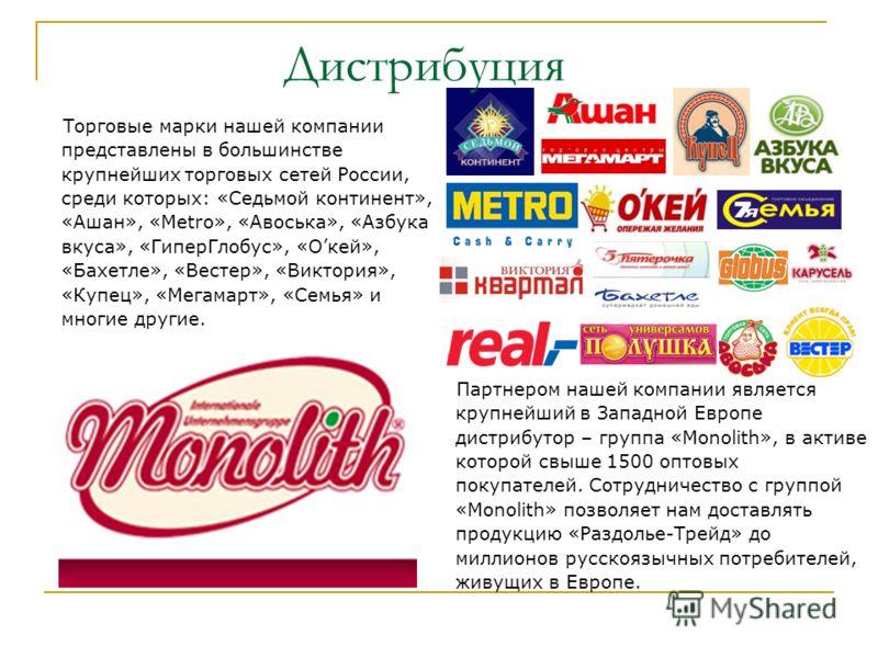 Дистрибуция Торговые марки нашей компании представлены в большинстве крупнейших торговых сетей России, среди которых: «Седьмой континент», «Ашан», «Metro», «Авоська», «Азбука вкуса», «ГиперГлобус», «Окей», «Бахетле», «Вестер», «Виктория», «Купец», «М