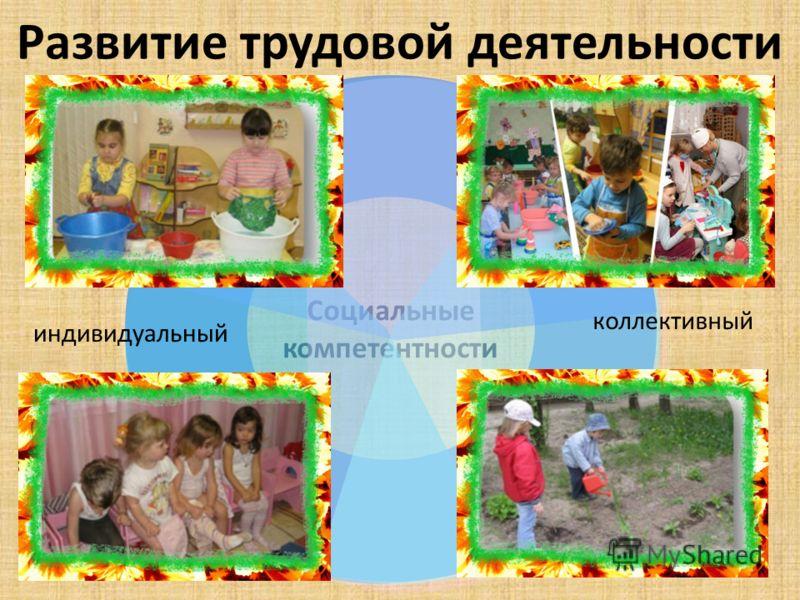 Развитие трудовой деятельности Социальные компетентности индивидуальный коллективный