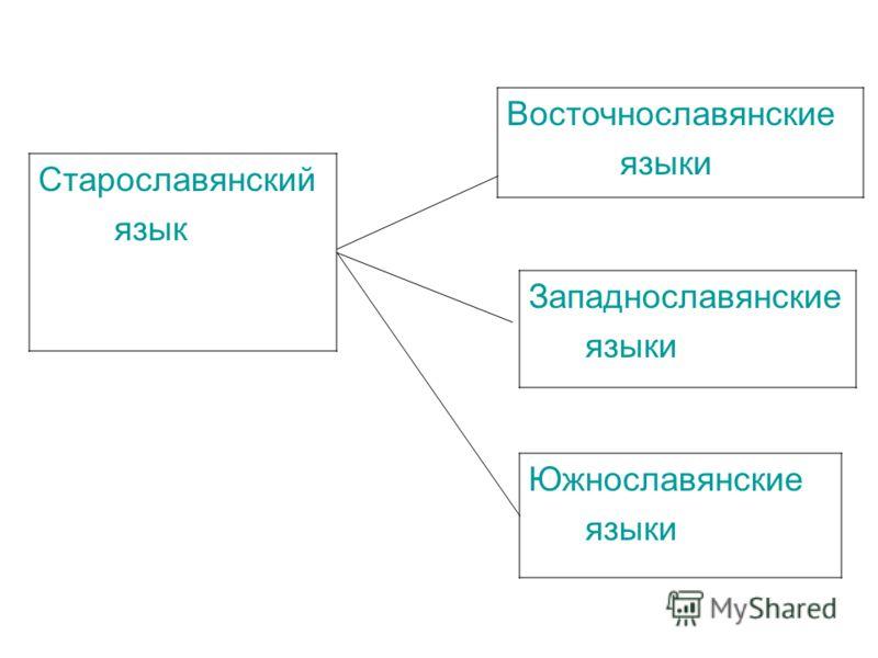 Старославянский язык Восточнославянские языки Западнославянские языки Южнославянские языки