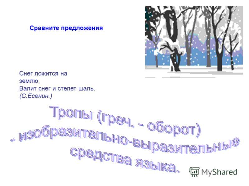 Сравните предложения Снег ложится на землю. Валит снег и стелет шаль. (С.Есенин.)