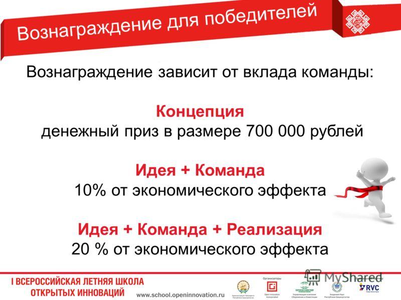 Вознаграждение для победителей Вознаграждение зависит от вклада команды: Концепция денежный приз в размере 700 000 рублей Идея + Команда 10% от экономического эффекта Идея + Команда + Реализация 20 % от экономического эффекта