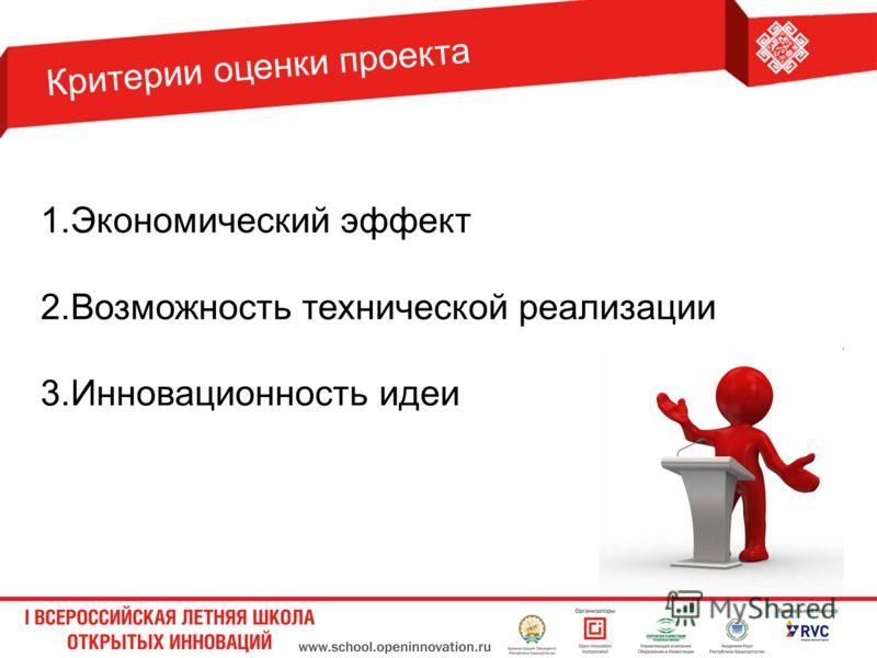 1.Экономический эффект 2.Возможность технической реализации 3.Инновационность идеи Критерии оценки проекта