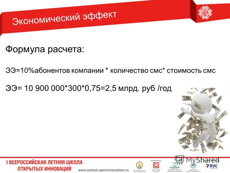 Формула расчета: ЭЭ=10%абонентов компании * количество смс* стоимость смс ЭЭ= 10 900 000*300*0,75=2,5 млрд. руб /год Экономический эффект
