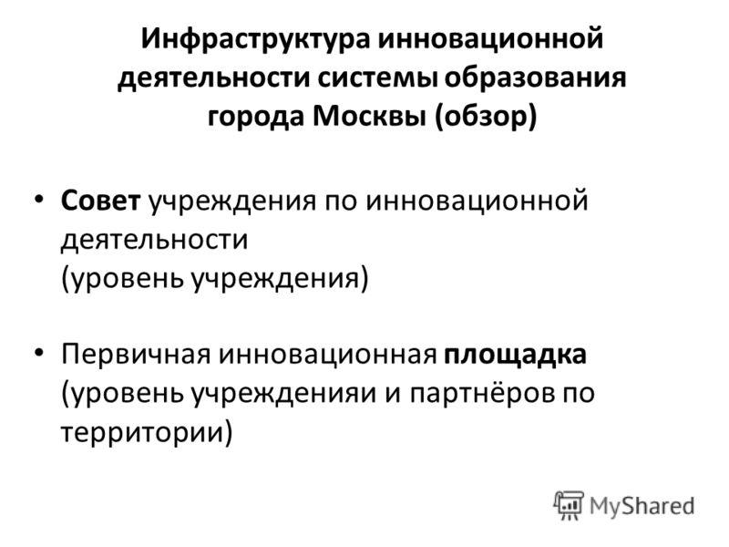 Инфраструктура инновационной деятельности системы образования города Москвы (обзор) Совет учреждения по инновационной деятельности (уровень учреждения) Первичная инновационная площадка (уровень учрежденияи и партнёров по территории)