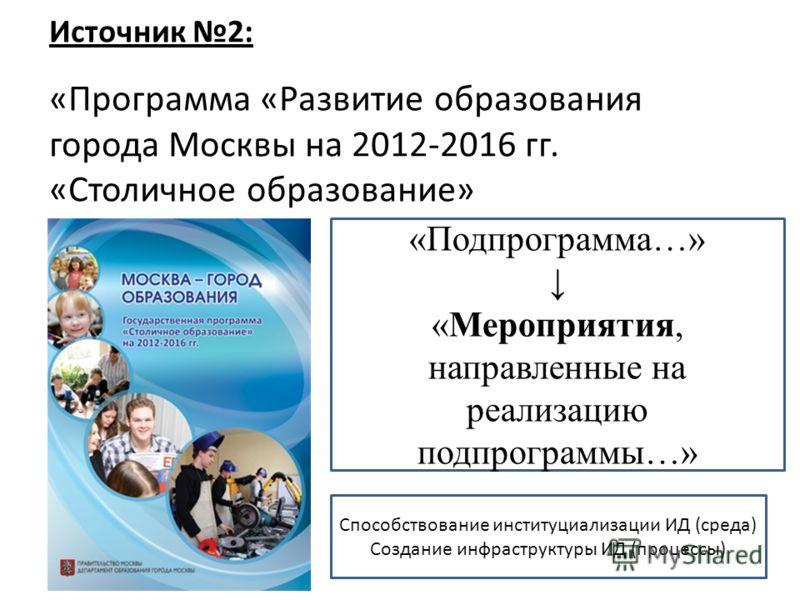 Источник 2: «Программа «Развитие образования города Москвы на 2012-2016 гг. «Столичное образование» «Подпрограмма…» «Мероприятия, направленные на реализацию подпрограммы…» Способствование институциализации ИД (среда) Создание инфраструктуры ИД (проце