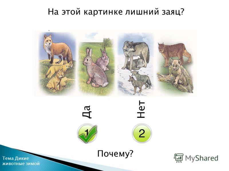 Да Нет На этой картинке лишний заяц? Почему? Тема Дикие животные зимой