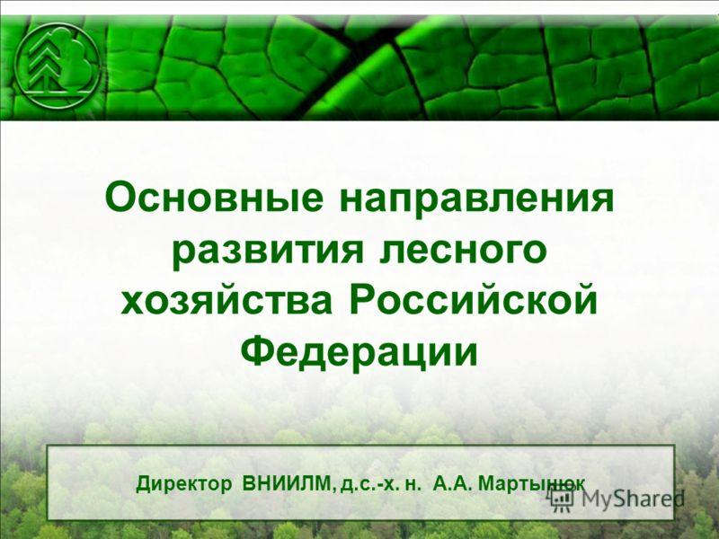 Основные направления развития лесного хозяйства Российской Федерации Директор ВНИИЛМ, д.с.-х. н. А.А. Мартынюк