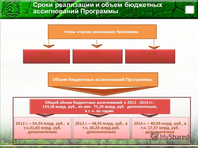 Сроки реализации и объем бюджетных ассигнований Программы 13 I этап – 2012-2014 годы I этап – 2012-2014 годы 2013 г. – 48,95 млрд. руб., в т.ч. 26,23 млрд.руб. дополнительно 2012 г. – 54,34 млрд. руб., в т.ч.31,60 млрд. руб. дополнительно Общий объем