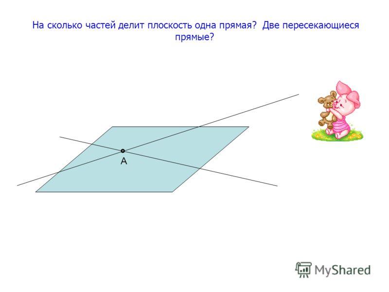 На сколько частей делит плоскость одна прямая? Две пересекающиеся прямые? А