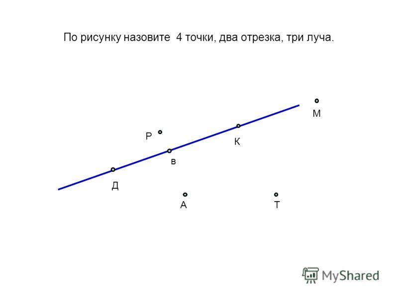 По рисунку назовите 4 точки, два отрезка, три луча. в Д К М Р АТ
