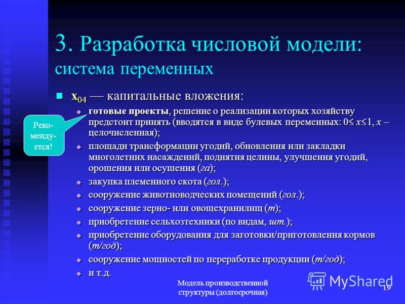 Модель производственной структуры (долгосрочная) 19 3. Разработка числовой модели: система переменных x 04 капитальные вложения: x 04 капитальные вложения: готовые проекты, решение о реализации которых хозяйству предстоит принять (вводятся в виде бул