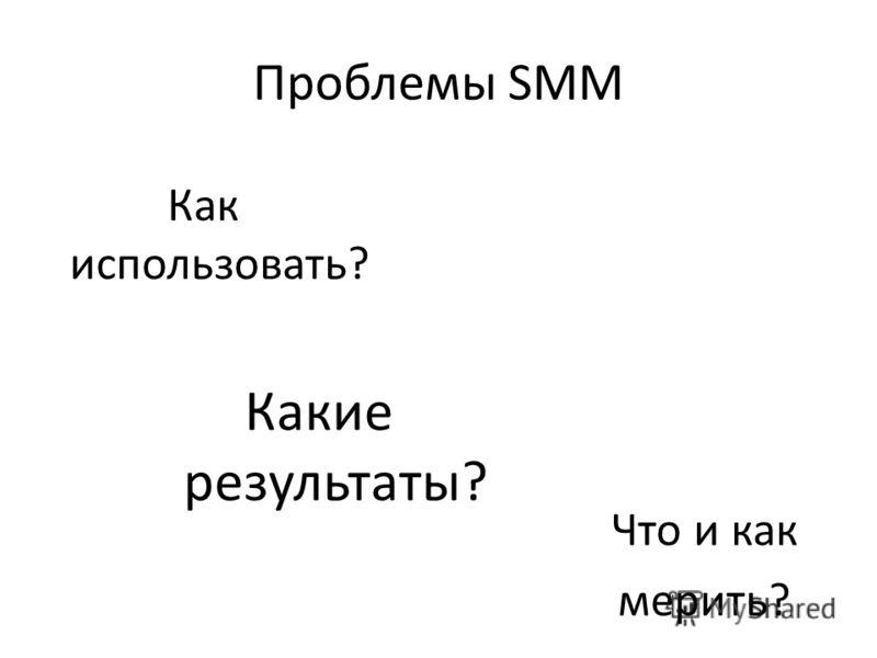 Проблемы SMM Как использовать? Какие результаты? Что и как мерить?
