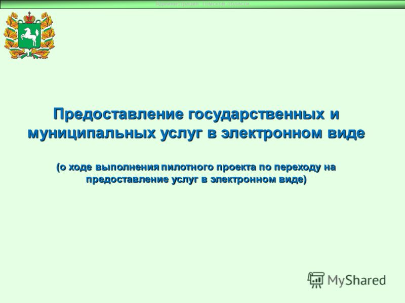 Предоставление государственных и муниципальных услуг в электронном виде (о ходе выполнения пилотного проекта по переходу на предоставление услуг в электронном виде) Администрация Томской области