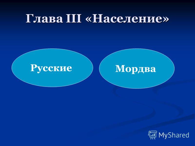Глава III «Население» Мордва Русские