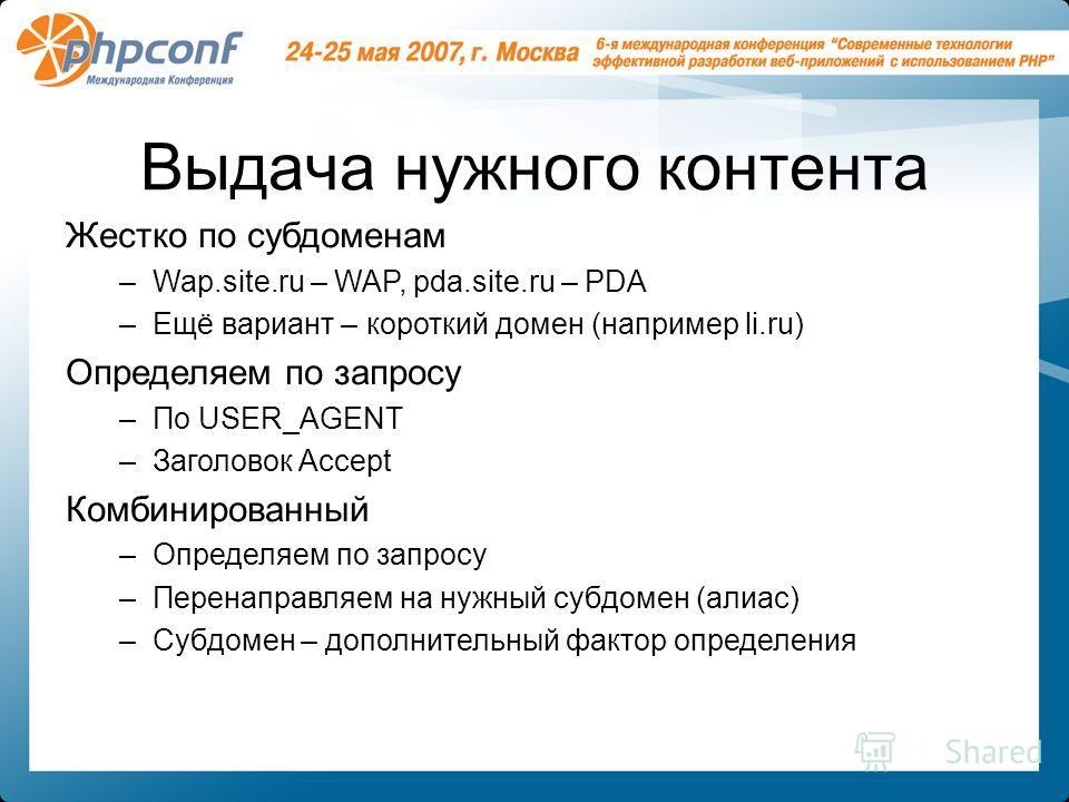 Выдача нужного контента Жестко по субдоменам –Wap.site.ru – WAP, pda.site.ru – PDA –Ещё вариант – короткий домен (например li.ru) Определяем по запросу –По USER_AGENT –Заголовок Accept Комбинированный –Определяем по запросу –Перенаправляем на нужный