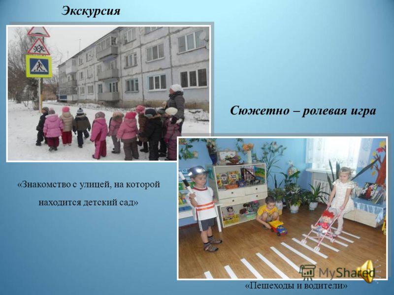 «Знакомство с улицей, на которой находится детский сад» Сюжетно – ролевая игра «Пешеходы и водители» Экскурсия