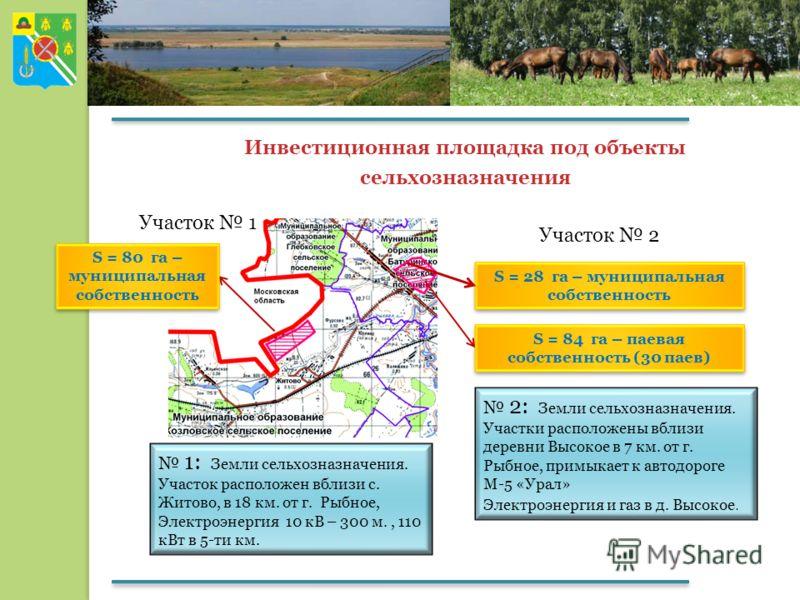 Инвестиционная площадка под объекты сельхозназначения S = 28 га – муниципальная собственность S = 84 га – паевая собственность (30 паев) 2: Земли сельхозназначения. Участки расположены вблизи деревни Высокое в 7 км. от г. Рыбное, примыкает к автодоро