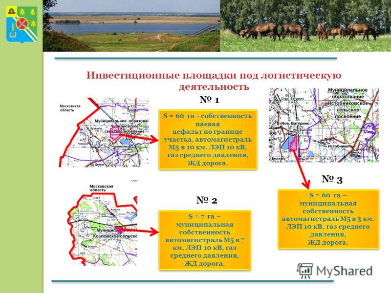 Инвестиционные площадки под логистическую деятельность 1 2 S = 60 га –собственность паевая асфальт по границе участка, автомагистраль М5 в 10 км. ЛЭП 10 кВ, газ среднего давления, ЖД дорога. S = 60 га –собственность паевая асфальт по границе участка,
