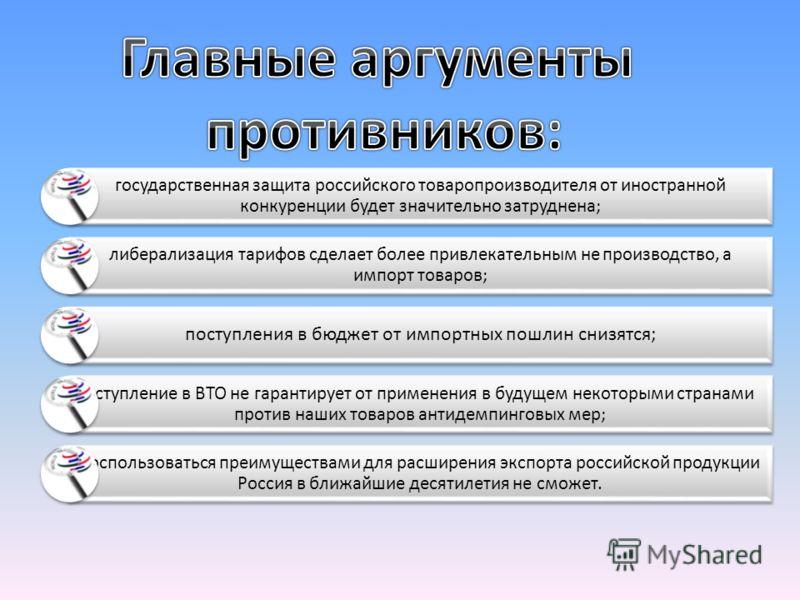 государственная защита российского товаропроизводителя от иностранной конкуренции будет значительно затруднена; либерализация тарифов сделает более привлекательным не производство, а импорт товаров; поступления в бюджет от импортных пошлин снизятся;
