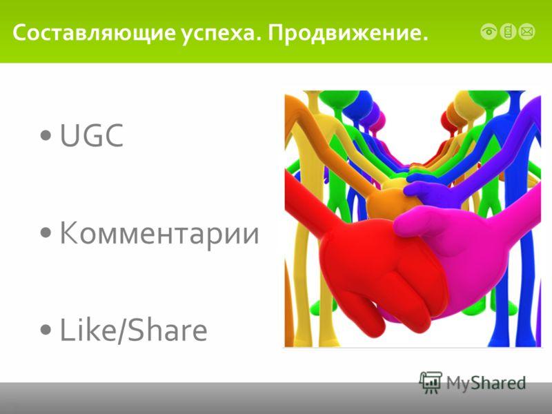 Составляющие успеха. Продвижение. UGC Комментарии Like/Share