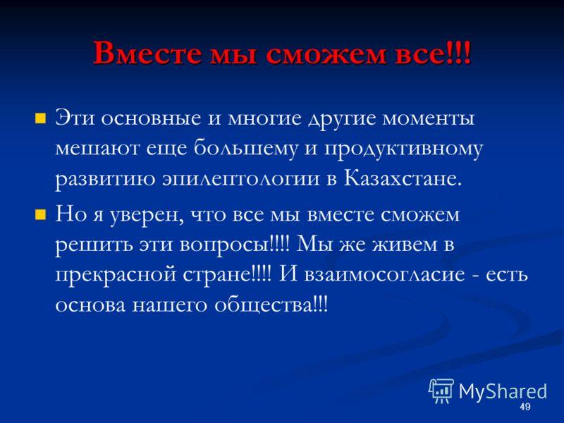 Вместе мы сможем все!!! Эти основные и многие другие моменты мешают еще большему и продуктивному развитию эпилептологии в Казахстане. Но я уверен, что все мы вместе сможем решить эти вопросы!!!! Мы же живем в прекрасной стране!!!! И взаимосогласие -