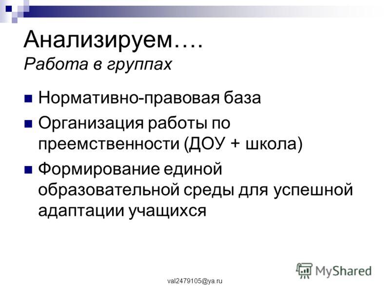 val2479105@ya.ru Анализируем…. Работа в группах Нормативно-правовая база Организация работы по преемственности (ДОУ + школа) Формирование единой образовательной среды для успешной адаптации учащихся