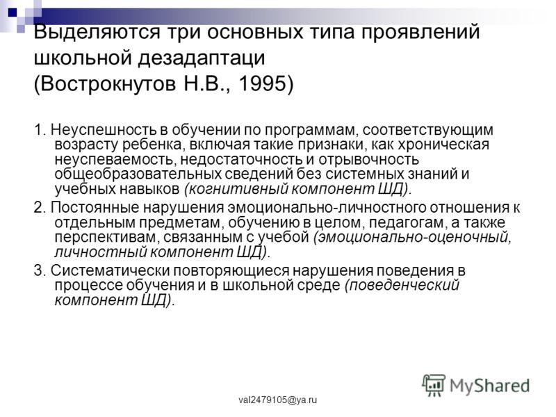 val2479105@ya.ru Выделяются три основных типа проявлений школьной дезадаптаци (Вострокнутов Н.В., 1995) 1. Неуспешность в обучении по программам, соответствующим возрасту ребенка, включая такие признаки, как хроническая неуспеваемость, недостаточност