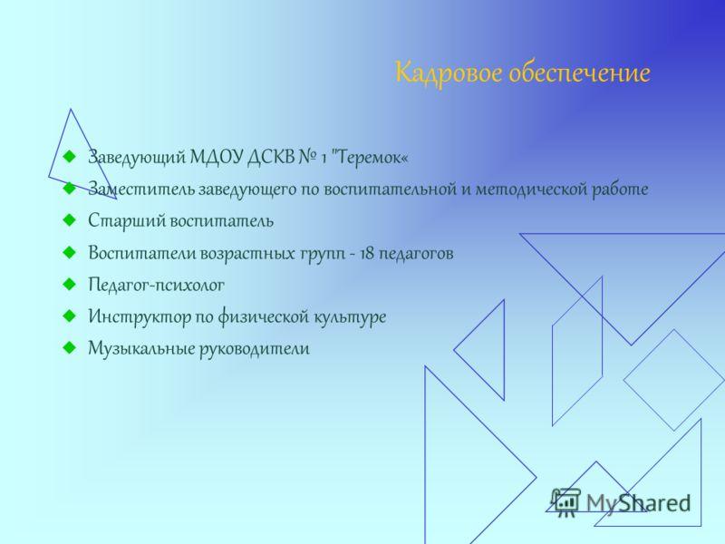 Кадровое обеспечение Заведующий МДОУ ДСКВ 1