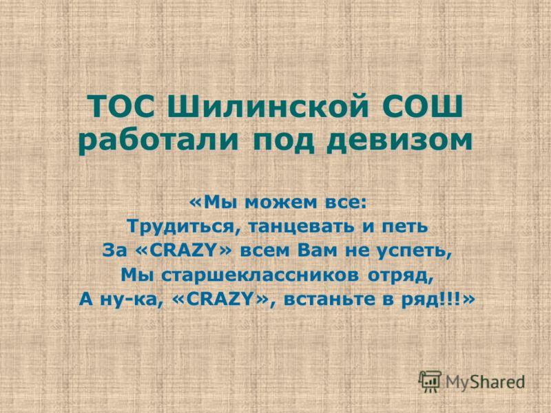 ТОС Шилинской СОШ работали под девизом «Мы можем все: Трудиться, танцевать и петь За «CRAZY» всем Вам не успеть, Мы старшеклассников отряд, А ну-ка, «CRAZY», встаньте в ряд!!!»