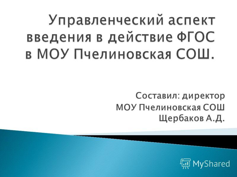 Составил: директор МОУ Пчелиновская СОШ Щербаков А.Д.