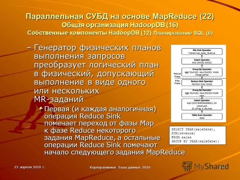 23 апреля 2010 г. Корпоративные базы данных 2010 110 Параллельная СУБД на основе MapReduce (22) Общая организация HadoopDВ (16) Собственные компоненты HadoopDB (12) Планирование SQL (6) –Генератор физических планов выполнения запросов преобразует лог