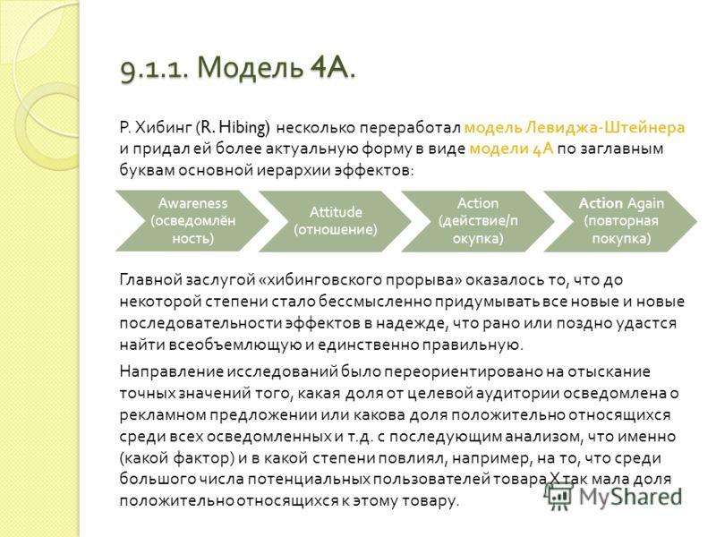 9.1.1. Модель иерархии эффектов. I информативная стадия II стадия формирования отношений III поведенческая стадия Известность товара Оценка товараПокупка Знание о товаре (поиск информации) Выработка предпочтения Убежденность