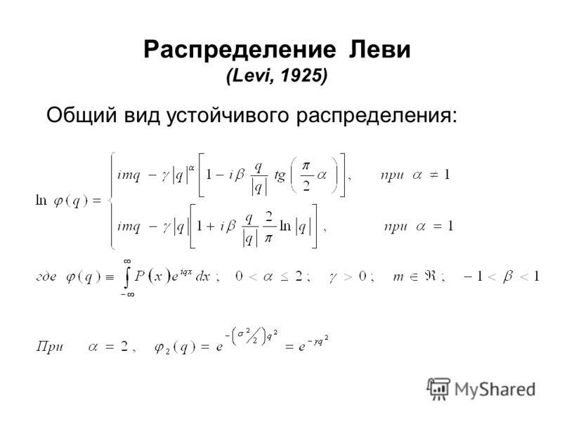 Распределение Леви (Levi, 1925) Общий вид устойчивого распределения: