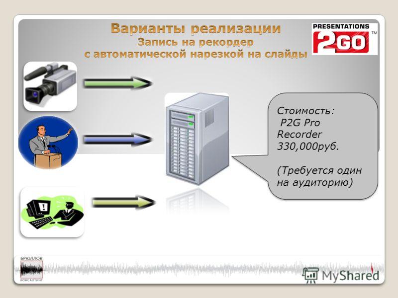 Стоимость: P2G Pro Recorder 330,000руб. (Требуется один на аудиторию) Стоимость: P2G Pro Recorder 330,000руб. (Требуется один на аудиторию)