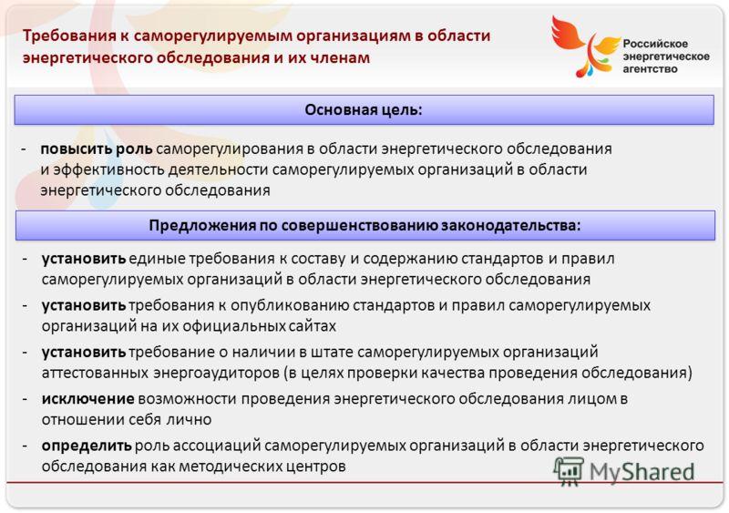 Российское энергетическое агентство 13.08.10 Требования к саморегулируемым организациям в области энергетического обследования и их членам -повысить роль саморегулирования в области энергетического обследования и эффективность деятельности саморегули