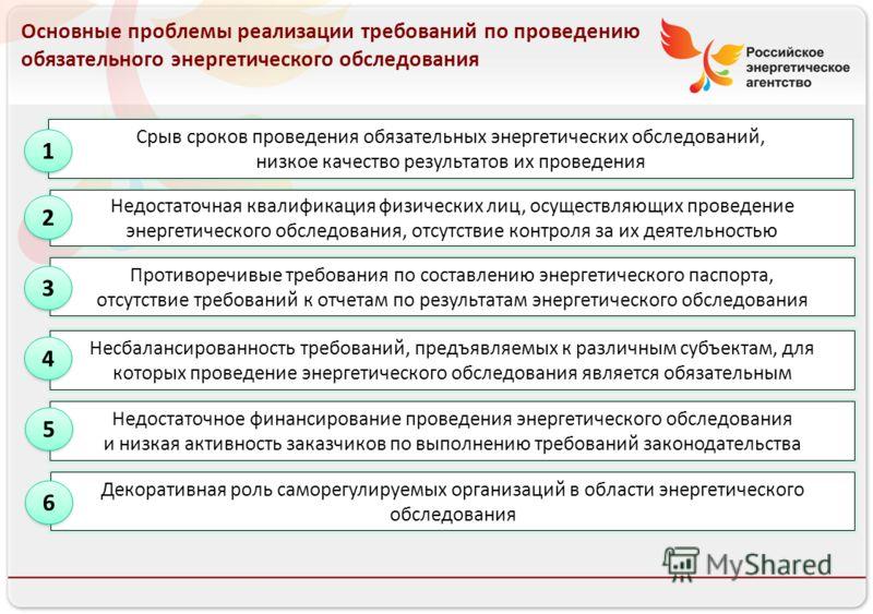 Российское энергетическое агентство 13.08.10 Основные проблемы реализации требований по проведению обязательного энергетического обследования Недостаточная квалификация физических лиц, осуществляющих проведение энергетического обследования, отсутстви