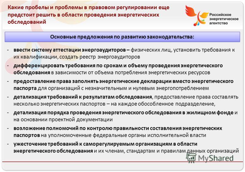 Российское энергетическое агентство 13.08.10 Какие пробелы и проблемы в правовом регулировании еще предстоит решить в области проведения энергетических обследований -ввести систему аттестации энергоаудиторов – физических лиц, установить требования к