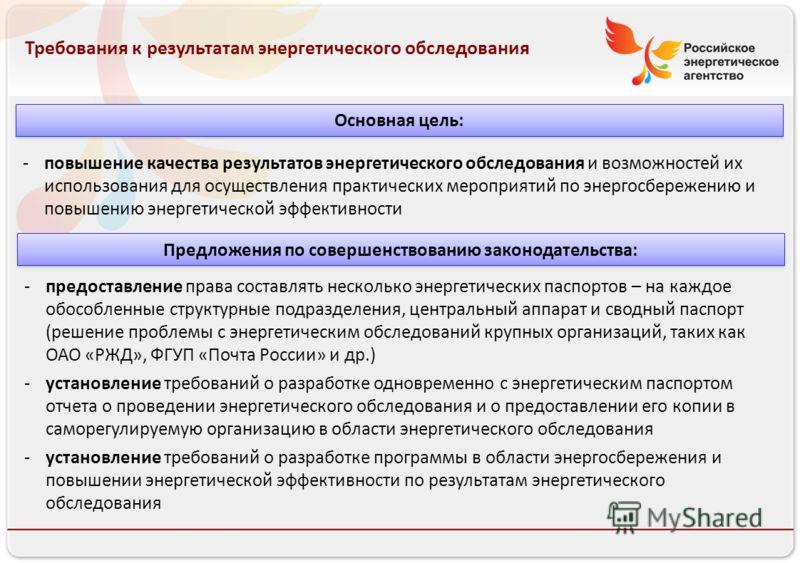 Российское энергетическое агентство 13.08.10 Требования к результатам энергетического обследования -повышение качества результатов энергетического обследования и возможностей их использования для осуществления практических мероприятий по энергосбереж