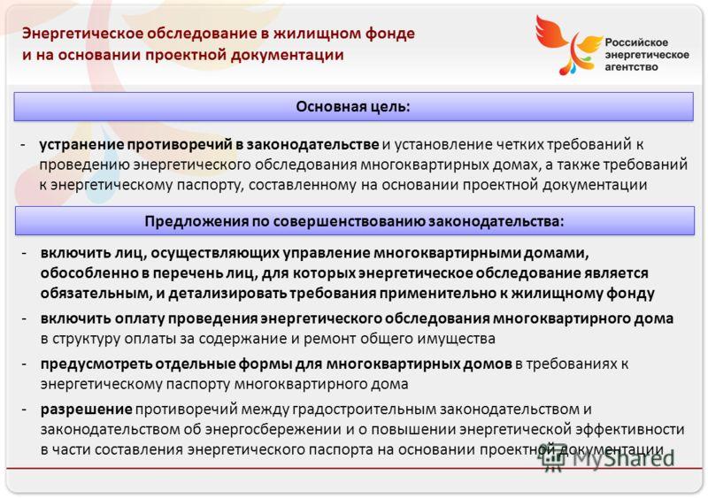 Российское энергетическое агентство 13.08.10 Энергетическое обследование в жилищном фонде и на основании проектной документации -устранение противоречий в законодательстве и установление четких требований к проведению энергетического обследования мно