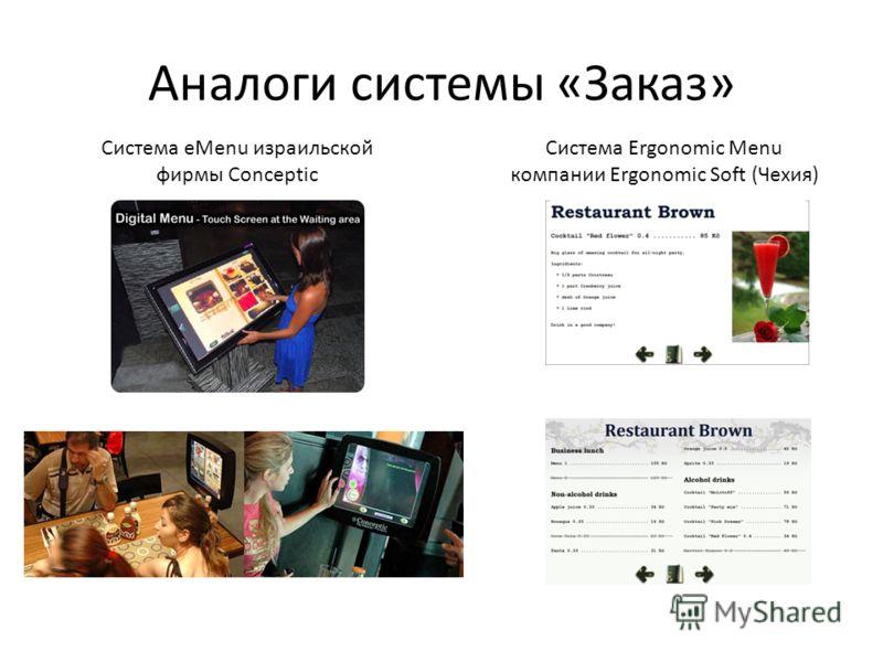 Аналоги системы «Заказ» Система eMenu израильской фирмы Conceptic Система Ergonomic Menu компании Ergonomic Soft (Чехия)