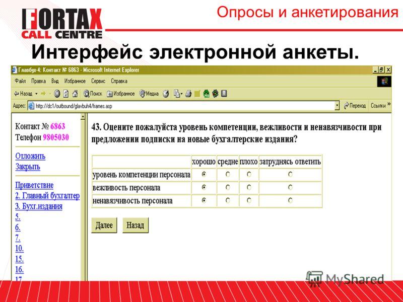 Интерфейс электронной анкеты. Опросы и анкетирования