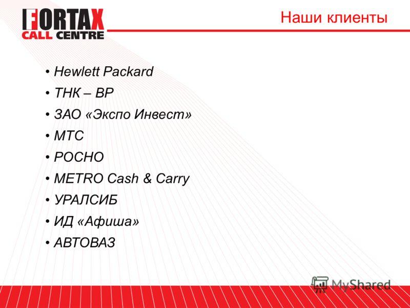 Наши клиенты Hewlett Packard ТНК – BP ЗАО «Экспо Инвест» МТС РОСНО METRO Cash & Carry УРАЛСИБ ИД «Афиша» АВТОВАЗ