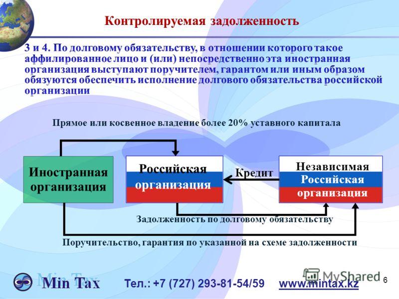 6 Тел.: +7 (727) 293-81-54/59 www.mintax.kz Прямое или косвенное владение более 20% уставного капитала Иностранная организация Независимая Российская организация Кредит Российская организация Задолженность по долговому обязательству Поручительство, г