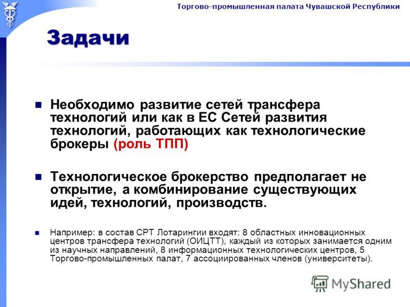 Торгово-промышленная палата Чувашской Республики Задачи Задачи Необходимо развитие сетей трансфера технологий или как в ЕС Сетей развития технологий, работающих как технологические брокеры (роль ТПП) Технологическое брокерство предполагает не открыти