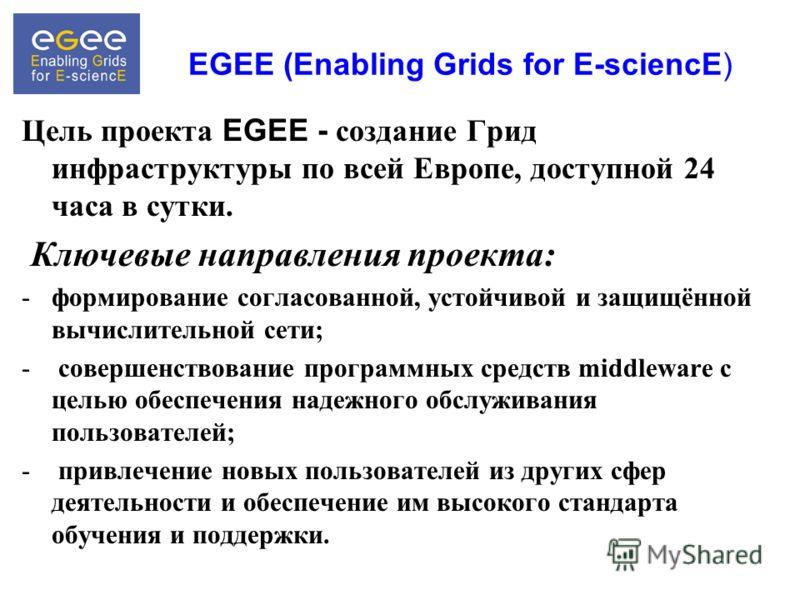 EGEE (Enabling Grids for E-sciencE) Цель проекта EGEE - создание Грид инфраструктуры по всей Европе, доступной 24 часа в сутки. Ключевые направления проекта: -формирование согласованной, устойчивой и защищённой вычислительной сети; - совершенствовани