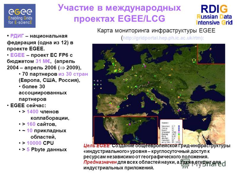 Участие в международных проектах EGEE/LCG РДИГ – национальная федерация (одна из 12) в проекте EGEE. EGEE – проект EC FP6 с бюджетом 31 M, (апрель 2004 – апрель 2006 ( 2009), 70 партнеров из 30 стран (Европа, США, Россия), более 30 ассоциированных па