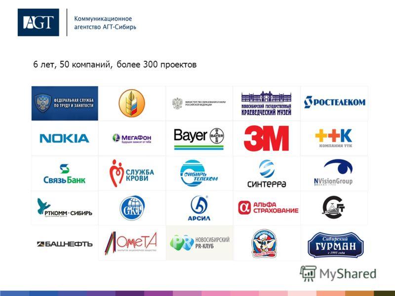 6 лет, 50 компаний, более 300 проектов