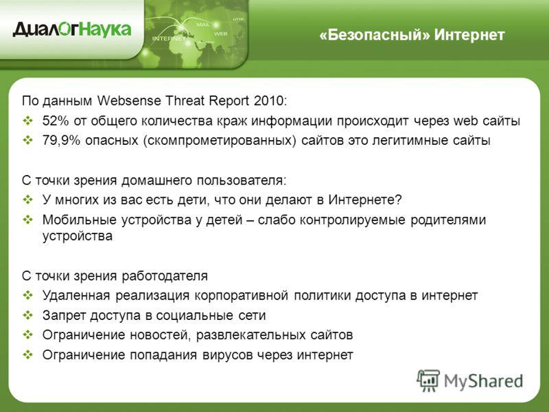 «Безопасный» Интернет По данным Websense Threat Report 2010: 52% от общего количества краж информации происходит через web сайты 79,9% опасных (скомпрометированных) сайтов это легитимные сайты С точки зрения домашнего пользователя: У многих из вас ес