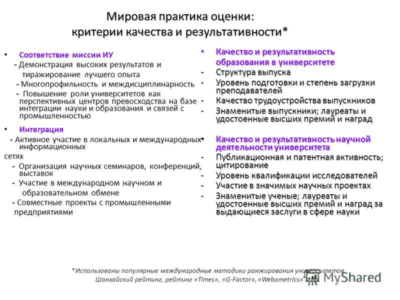 Мировая практика оценки: критерии качества и результативности* Соответствие миссии ИУ Соответствие миссии ИУ - Демонстрация высоких результатов и - Демонстрация высоких результатов и тиражирование лучшего опыта тиражирование лучшего опыта - Многопроф